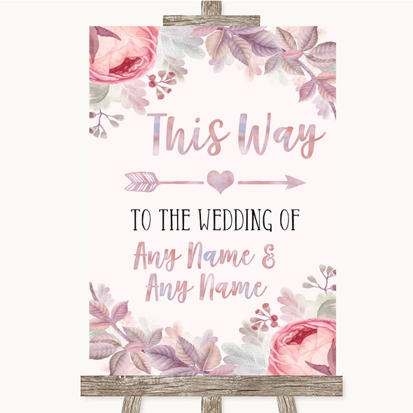 Blush Rose Gold & Lilac This Way Arrow Right Personalised Wedding Sign