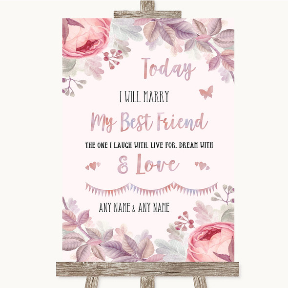 Blush Rose Gold & Lilac Today I Marry My Best Friend Personalised Wedding Sign