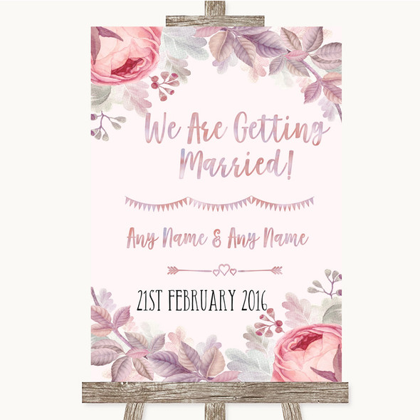 Blush Rose Gold & Lilac We Are Getting Married Personalised Wedding Sign
