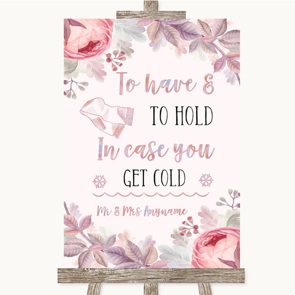 Blush Rose Gold & Lilac Wedding Blanket Scarf Personalised Wedding Sign