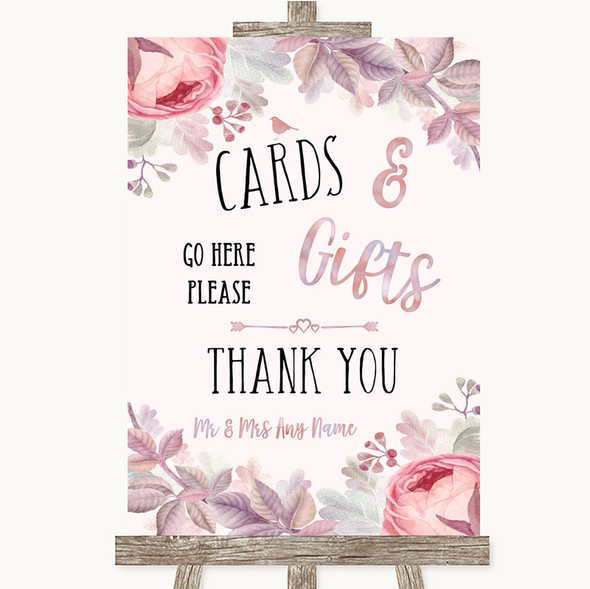 Blush Rose Gold & Lilac Cards & Gifts Table Personalised Wedding Sign