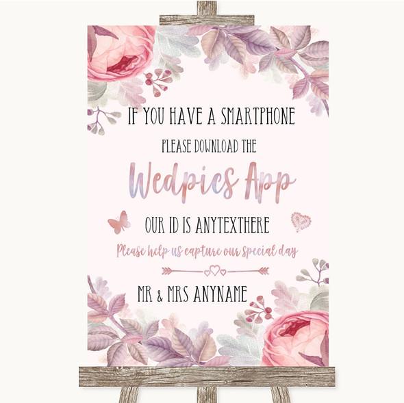 Blush Rose Gold & Lilac Wedpics App Photos Personalised Wedding Sign