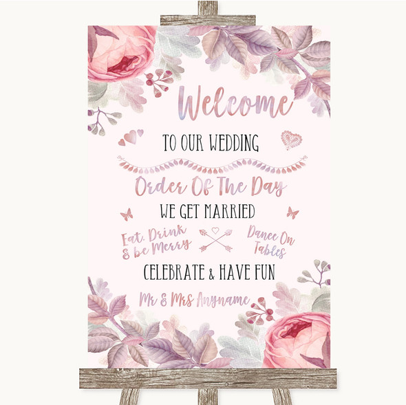Blush Rose Gold & Lilac Welcome Order Of The Day Personalised Wedding Sign