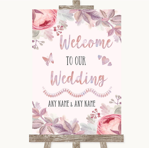 Blush Rose Gold & Lilac Welcome To Our Wedding Personalised Wedding Sign
