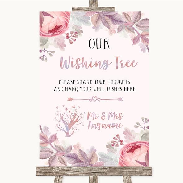 Blush Rose Gold & Lilac Wishing Tree Personalised Wedding Sign