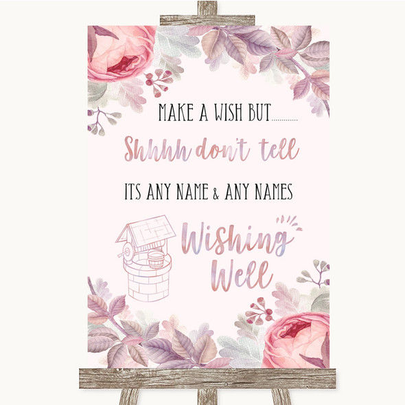 Blush Rose Gold & Lilac Wishing Well Message Personalised Wedding Sign