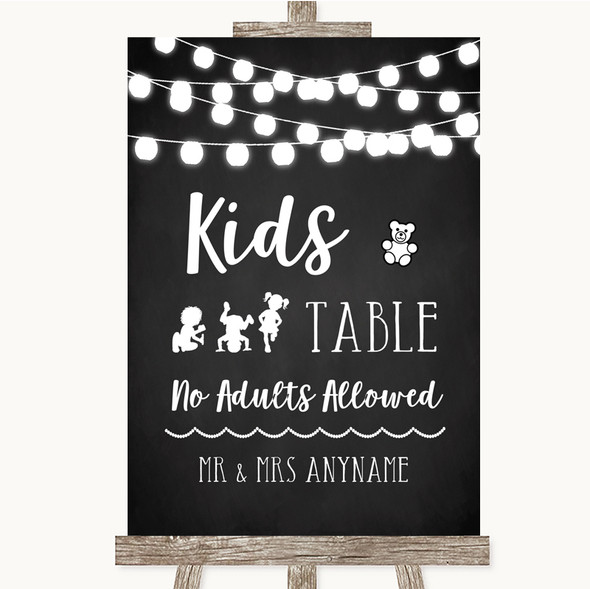 Chalk Style Black & White Lights Kids Table Personalised Wedding Sign