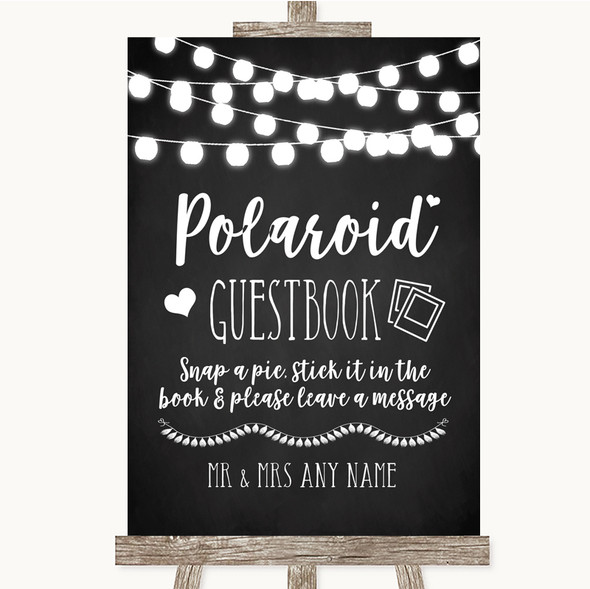 Chalk Style Black & White Lights Polaroid Guestbook Personalised Wedding Sign