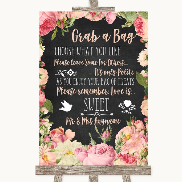 Chalkboard Style Pink Roses Grab A Bag Candy Buffet Cart Sweets Wedding Sign