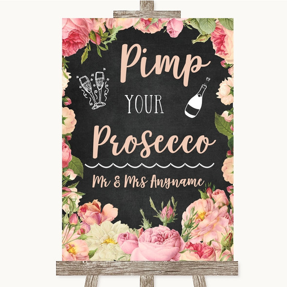 Chalkboard Style Pink Roses Pimp Your Prosecco Personalised Wedding Sign