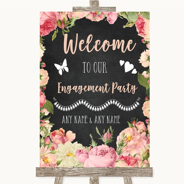 Chalkboard Style Pink Roses Welcome To Our Engagement Party Wedding Sign