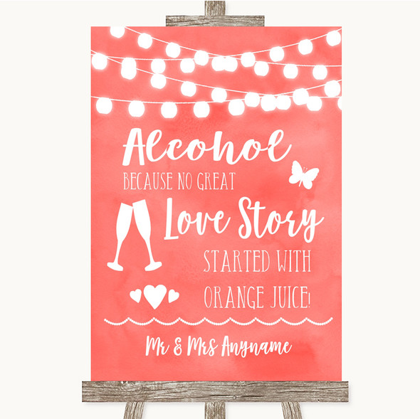 Coral Watercolour Lights Alcohol Bar Love Story Personalised Wedding Sign