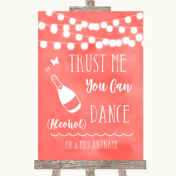 Coral Watercolour Lights Alcohol Says You Can Dance Personalised Wedding Sign