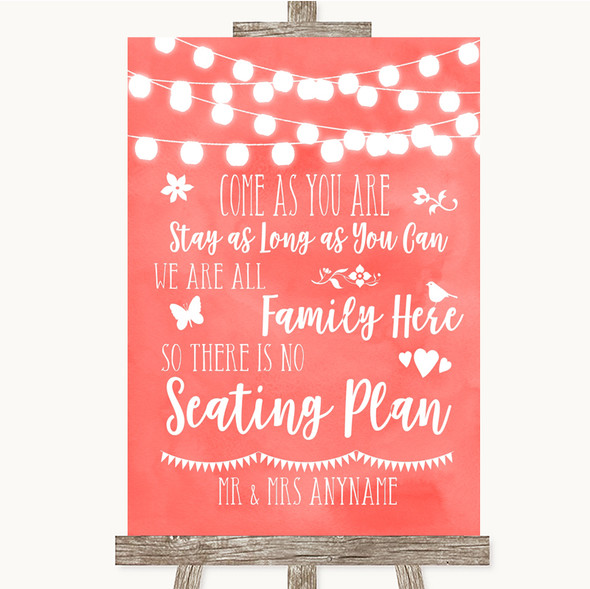 Coral Watercolour Lights All Family No Seating Plan Personalised Wedding Sign