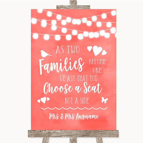 Coral Watercolour Lights As Families Become One Seating Plan Wedding Sign