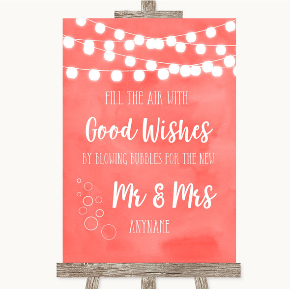 Coral Watercolour Lights Blow Bubbles Personalised Wedding Sign