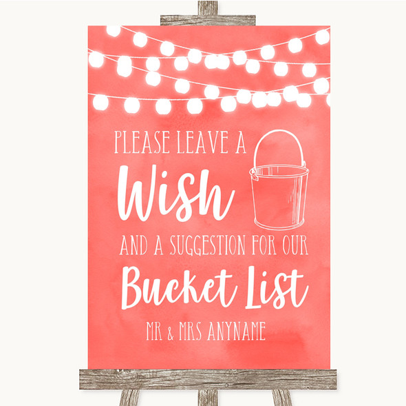 Coral Watercolour Lights Bucket List Personalised Wedding Sign