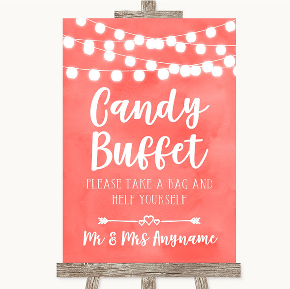 Coral Watercolour Lights Candy Buffet Personalised Wedding Sign