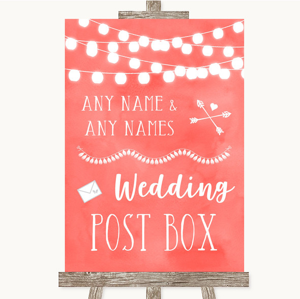 Coral Watercolour Lights Card Post Box Personalised Wedding Sign