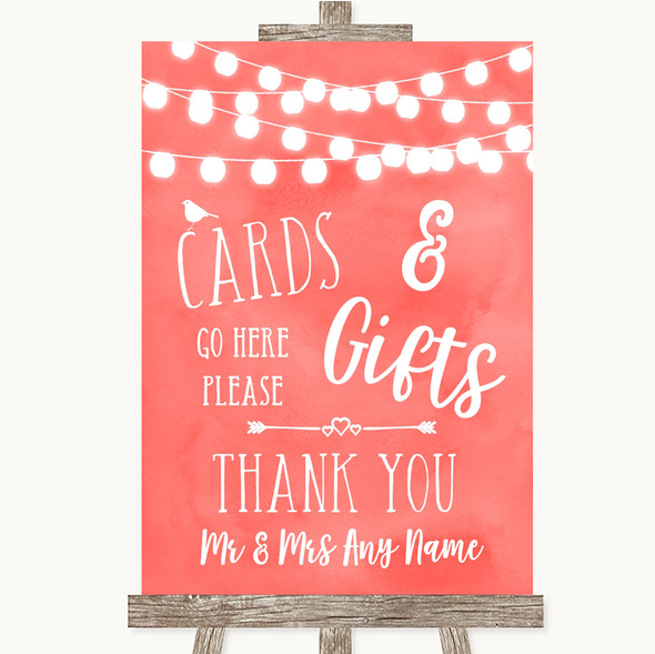 Coral Watercolour Lights Cards & Gifts Table Personalised Wedding Sign