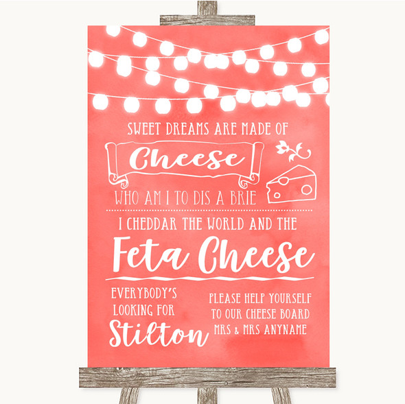 Coral Watercolour Lights Cheeseboard Cheese Song Personalised Wedding Sign