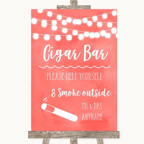 Coral Watercolour Lights Cigar Bar Personalised Wedding Sign