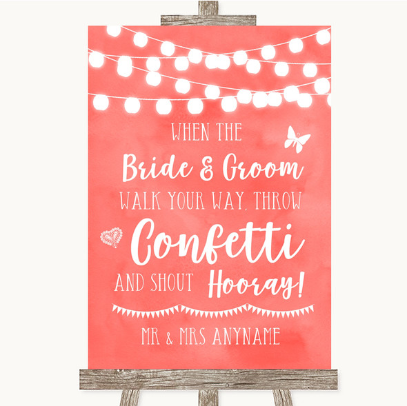 Coral Watercolour Lights Confetti Personalised Wedding Sign