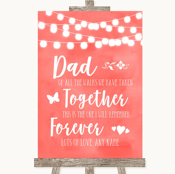 Coral Watercolour Lights Dad Walk Down The Aisle Personalised Wedding Sign