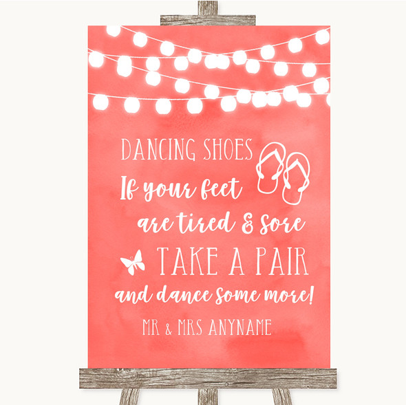 Coral Watercolour Lights Dancing Shoes Flip Flops Personalised Wedding Sign