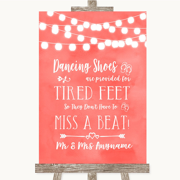 Coral Watercolour Lights Dancing Shoes Flip-Flop Tired Feet Wedding Sign