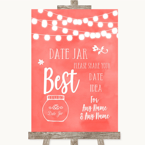 Coral Watercolour Lights Date Jar Guestbook Personalised Wedding Sign