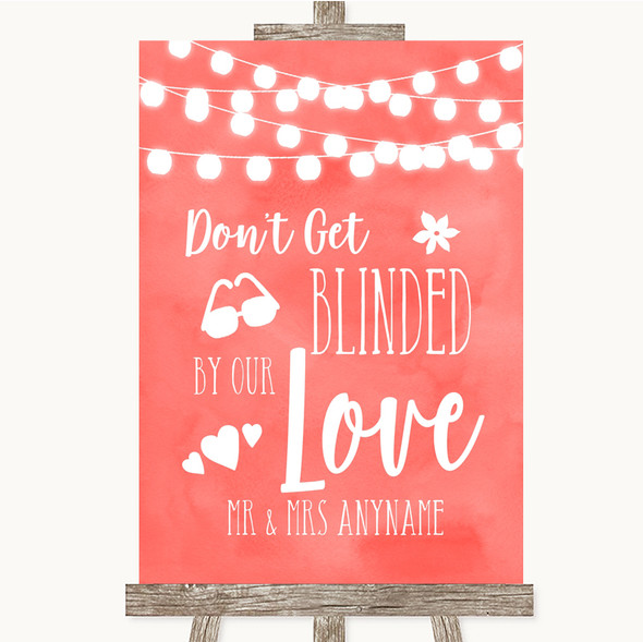 Coral Watercolour Lights Don't Be Blinded Sunglasses Personalised Wedding Sign