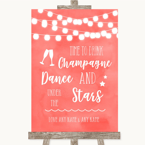 Coral Watercolour Lights Drink Champagne Dance Stars Personalised Wedding Sign