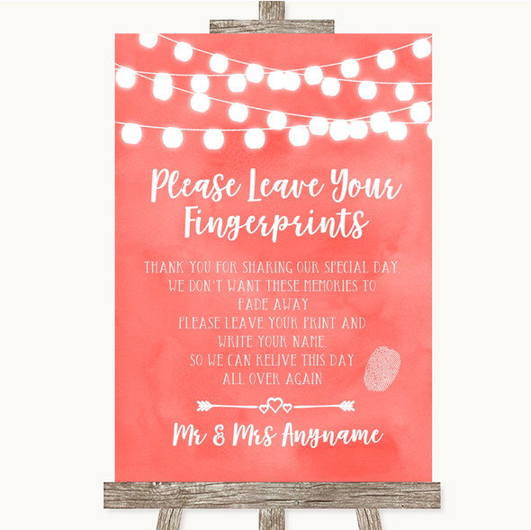Coral Watercolour Lights Fingerprint Guestbook Personalised Wedding Sign