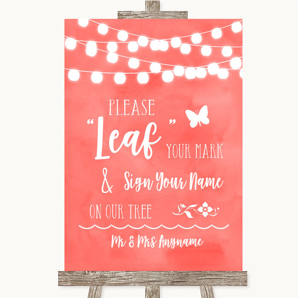 Coral Watercolour Lights Fingerprint Tree Instructions Personalised Wedding Sign