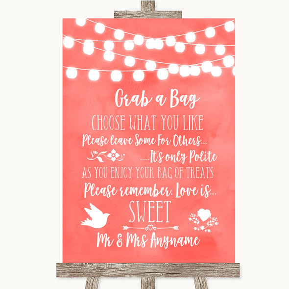 Coral Watercolour Lights Grab A Bag Candy Buffet Cart Sweets Wedding Sign