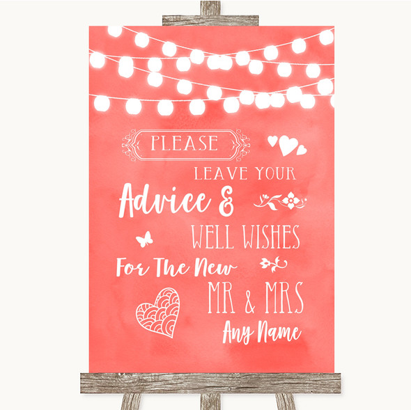 Coral Watercolour Lights Guestbook Advice & Wishes Mr & Mrs Wedding Sign