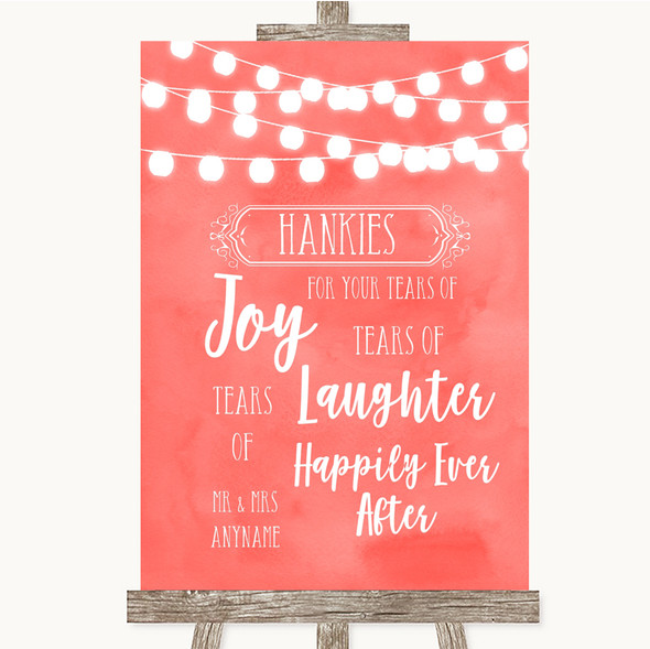 Coral Watercolour Lights Hankies And Tissues Personalised Wedding Sign