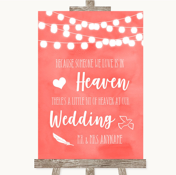 Coral Watercolour Lights Heaven Loved Ones Personalised Wedding Sign