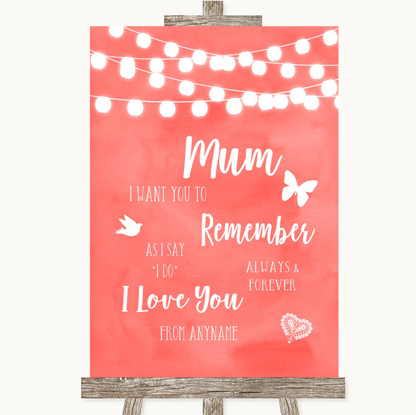 Coral Watercolour Lights I Love You Message For Mum Personalised Wedding Sign
