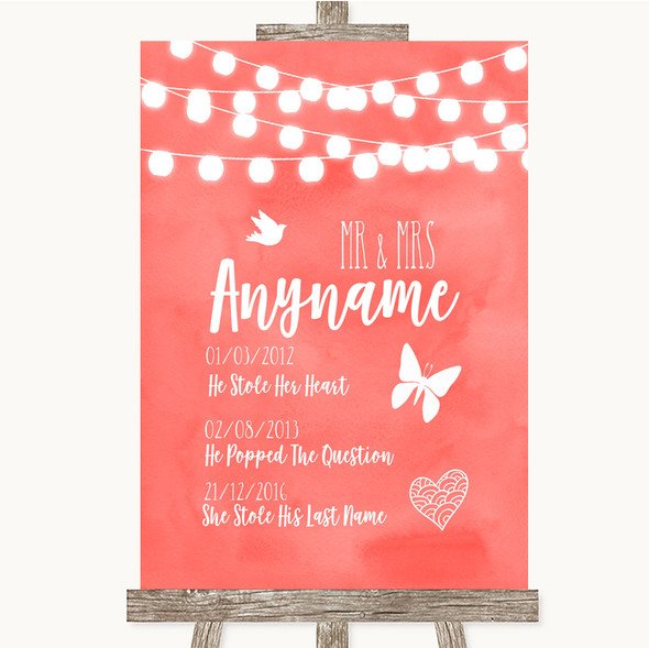 Coral Watercolour Lights Important Special Dates Personalised Wedding Sign