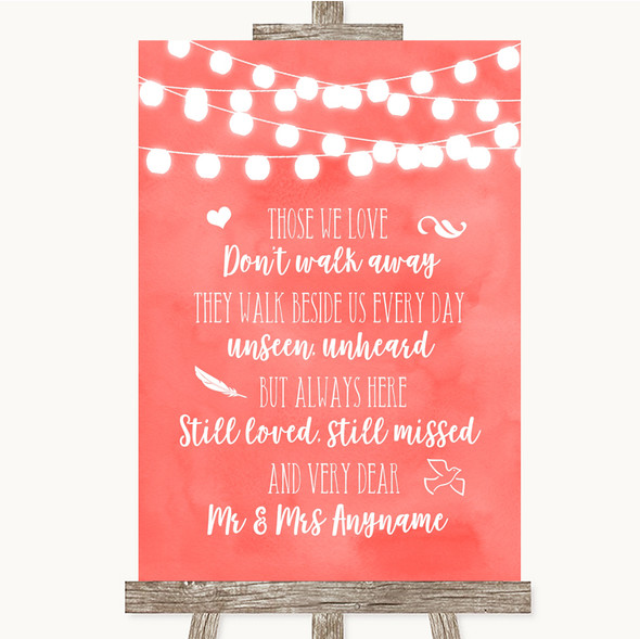 Coral Watercolour Lights In Loving Memory Personalised Wedding Sign