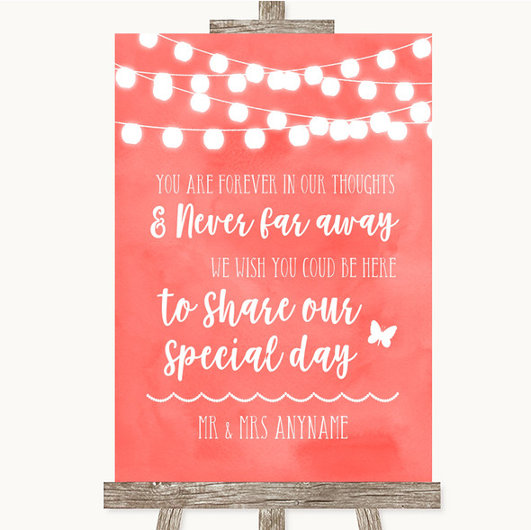 Coral Watercolour Lights In Our Thoughts Personalised Wedding Sign