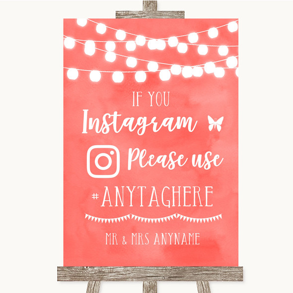 Coral Watercolour Lights Instagram Hashtag Personalised Wedding Sign