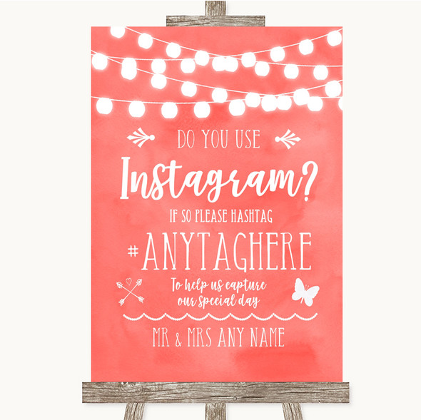 Coral Watercolour Lights Instagram Photo Sharing Personalised Wedding Sign