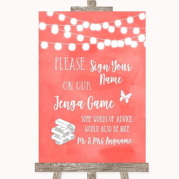 Coral Watercolour Lights Jenga Guest Book Personalised Wedding Sign