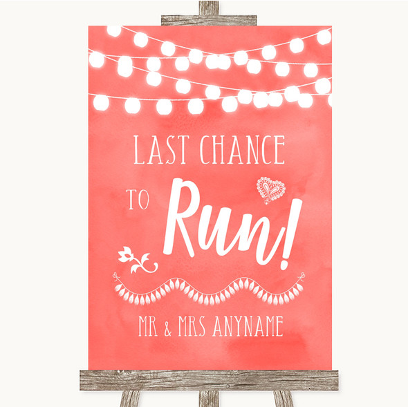 Coral Watercolour Lights Last Chance To Run Personalised Wedding Sign