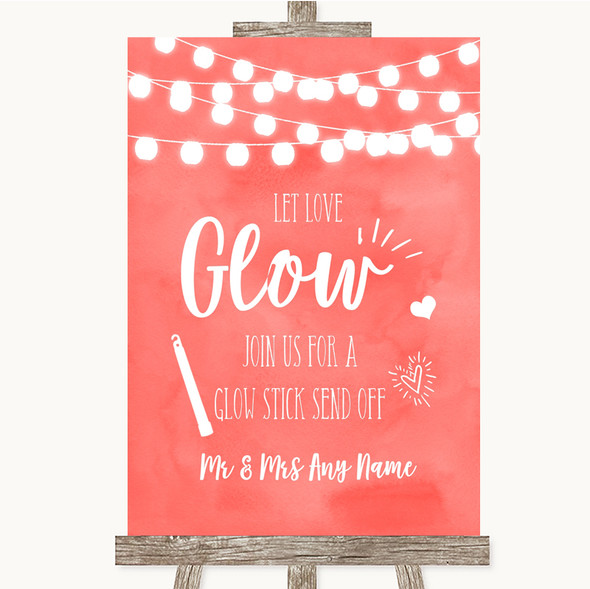 Coral Watercolour Lights Let Love Glow Glowstick Personalised Wedding Sign