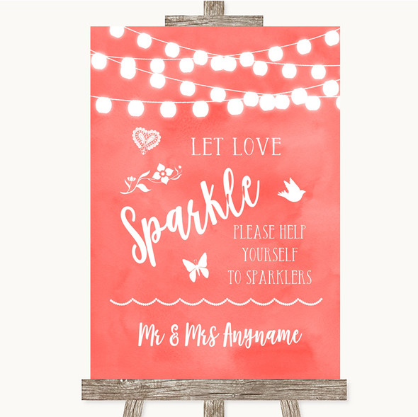 Coral Watercolour Lights Let Love Sparkle Sparkler Send Off Wedding Sign