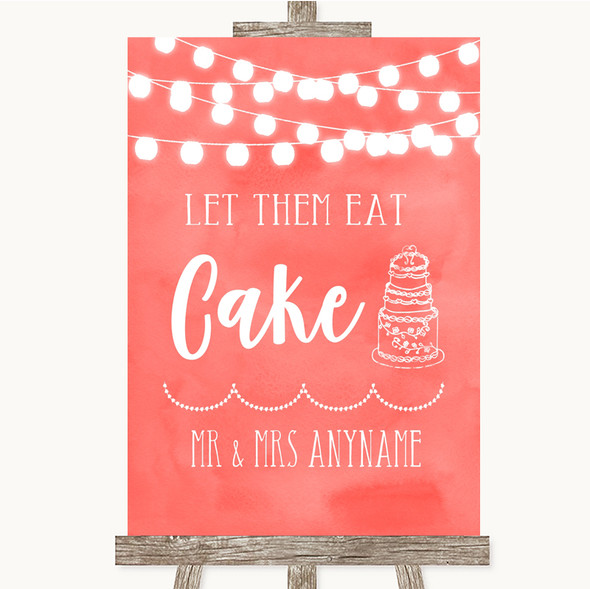 Coral Watercolour Lights Let Them Eat Cake Personalised Wedding Sign
